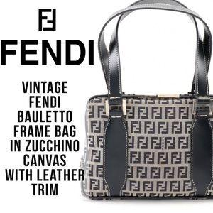 Vintage Fendi Bauletto Frame Bag Zucchino Canvas